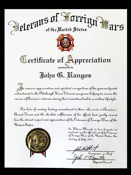 New pittsburgh group to find jobs for vets rangos foundation a certificate of appreciation and senior vice commander john biedrzycki presents him with a vfw life membership by during the tuesday business session yadclub Image collections
