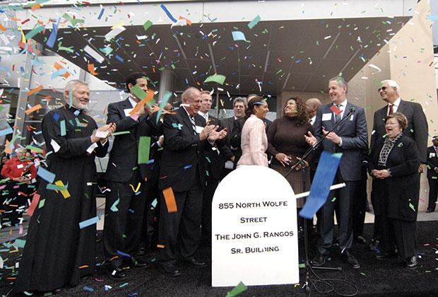 Confetti rains moments after the inauguration of the new John G. Rangos Sr. Life Sciences Building at Johns Hopkins University Science & Technology Park, part of an 80-acre urban development just north of the Hopkins medical campus in east Baltimore. The Rangos Family Charitable Foundation funded construction for the building. Pictured from the left are His Eminence Metropolitan Soterios of Toronto, a cousin of Mr. Rangos; Congressman John Sarbanes of Maryland; Mr. Rangos; Baltimore Mayor Sheila Dixon and City Council President Stephanie Rawlings-Blake; Scott Levitan, director of development for the new Science & Technology Park; Edward D. Miller, Dean of Johns Hopkins School of Medicine; and U.S. Senator Barbara Mikulski of Maryland.